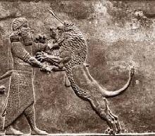 Darius stabbling lion