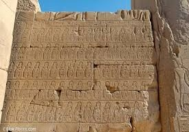 Sheshong's wall of prisoners at Karnak
